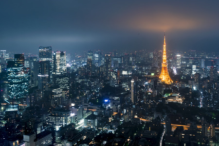 Tokyo from Roppongi Hills  with Tokyo Tower in the background