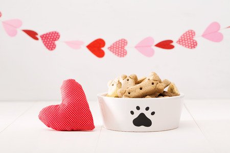 dog biscuit: Dog treats on a white bowl with a heart cushion with a garland of hearts
