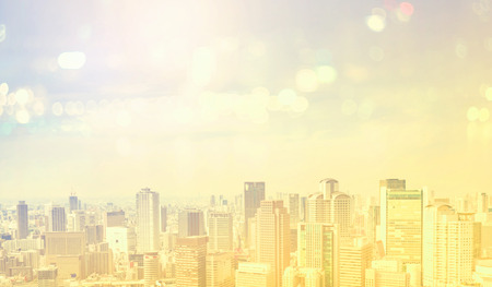 city building: Aerial view of the skyline with light yellow filter Stock Photo