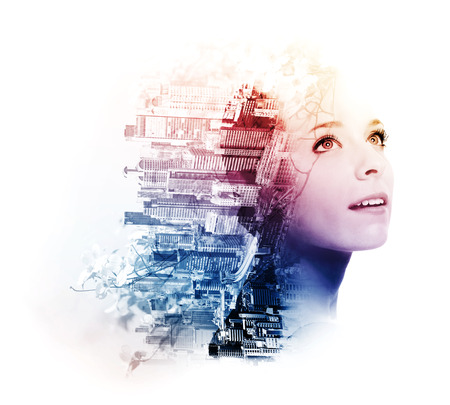 Double exposure of young woman with metropolis and dogwood flowers Archivio Fotografico