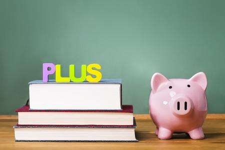 Bundes PLUS Eltern Loan to Undergraduate Students Thema mit Lehrbüchern und Sparschwein und Tafelhintergrund Standard-Bild - 43897190