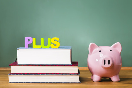 undergraduate: Federal PLUS Parent Loan to Undergraduate Students theme with textbooks and piggy bank and chalkboard background Stock Photo