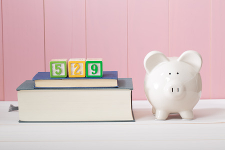 college fund savings: Saving for the costs of education with 529 plan concept with  piggy bank standing alongside stacked textbooks