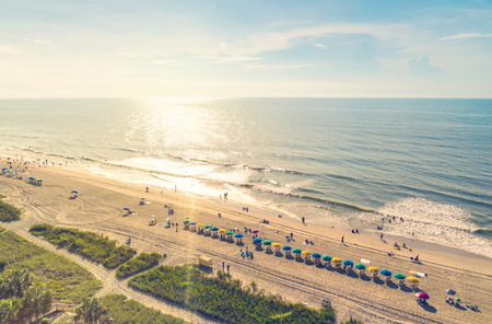 tourist resort: Myrtle Beach South Carolina aerial view at sunset