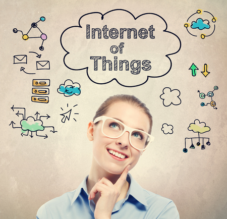 'young things': Internet of Things (IoT) sketch with young business woman wearing white eyeglasses Stock Photo