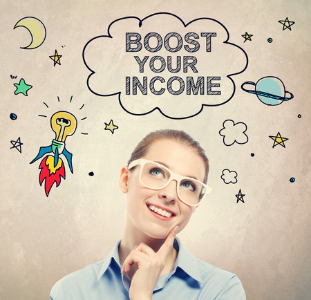 money cosmos: Boost Your Income idea sketch with young business woman wearing white eyeglasses Stock Photo