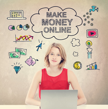 Make Money Online concept with young woman working on a laptop