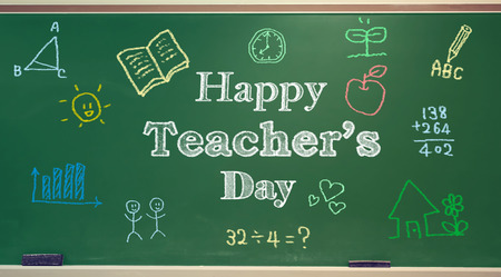blackboard cartoon: Happy Teachers Day message with colorful hand drawings