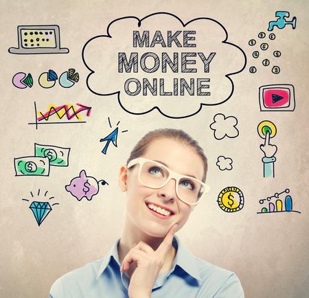 dinero: Hacer boceto idea de dinero en línea con la mujer de negocios joven que llevaba gafas blancas