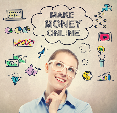earn money: Make Money Online idea sketch with young business woman wearing white eyeglasses