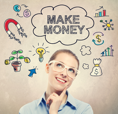 earn money: Make Money idea sketch with young business woman wearing white eyeglasses