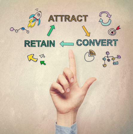 hand pointing: Hand pointing at Customer Acquisition concept on light brown wall  Stock Photo