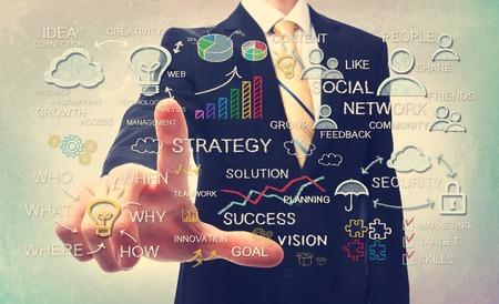 estrategia: El hombre de negocios de estrategia de negocios de dibujo conceptos iconos con tiza