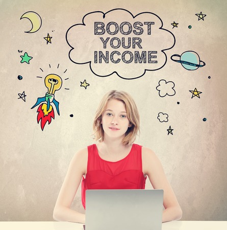 money cosmos: Boost Your Income concept with young woman working on a laptop