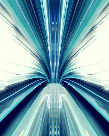 Abstracte technologie concept afbeelding met hoge snelheid uit de Yuikamome geautomatiseerde geleiding in Tokyo