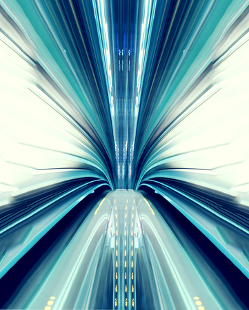 Abstract high-speed technology concept image from the Yuikamome automated guideway in Tokyo Foto de archivo