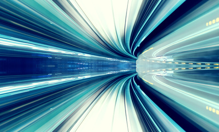 Abstract high speed technology concept image from the Yuikamome automated guideway in Tokyo Japan Archivio Fotografico