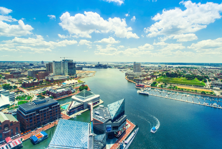 Aerial view of the Inner Harbor of Baltimore, Maryland on a clear summer day Stock Photo