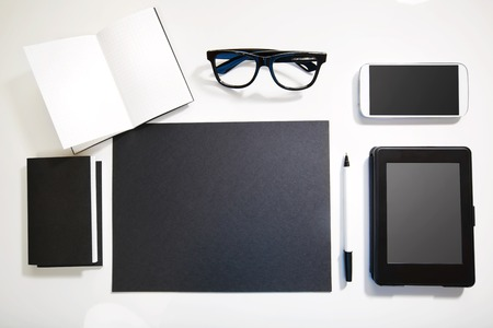blak and white: Top view of black and white workplace