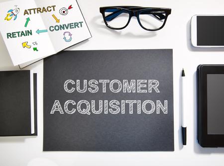 黒と白のワークステーションと顧客獲得の概念平面図 写真素材