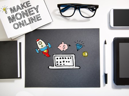 money online: Make Money Online concept top view with black and white workstation Stock Photo