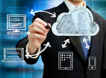 cloud technology: Businessman drawing cloud computing, technology connectivity concept