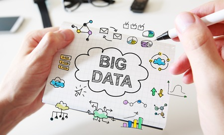big idea: Mans hand drawing Big Data concept on white notebook Stock Photo