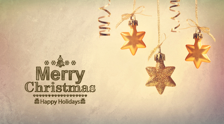 christmas gold: Merry Christmas message with hanging star ornaments