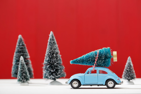 miniatures: Car carrying a Christmas tree in a miniature evergreen forest