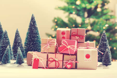 miniature: Collection of little handmade gift boxes in a room