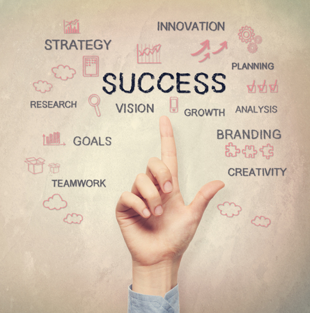 success concept: Hand pointing to Success concept on light brown wall background Stock Photo