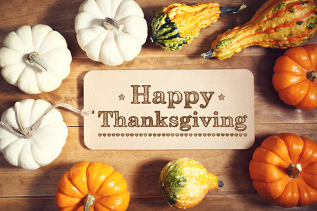 Happy Thanksgiving message with colorful pumpkins and squashes