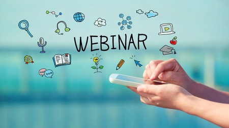 Webinar concept with person holding a smartphone