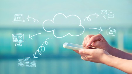 Cloud Computing concept with person using a smartphone Reklamní fotografie