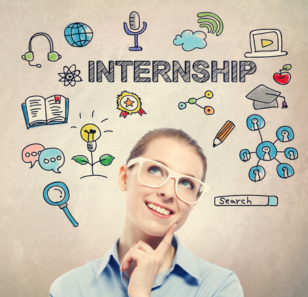 Internship concept with young business woman wearing white eyeglasses Stock Photo