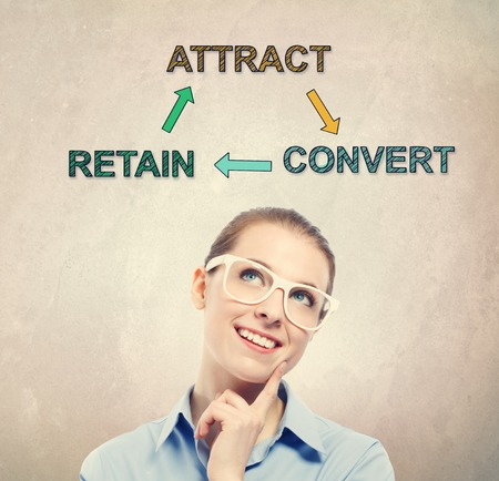 retain: Attract, Retain and Convert concept with young business woman wearing white eyeglasses