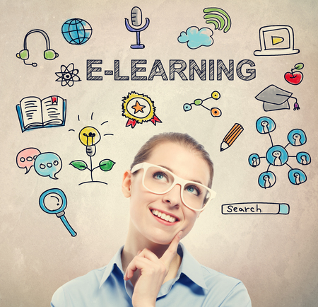 E-learning concept with young business woman wearing white eyeglasses