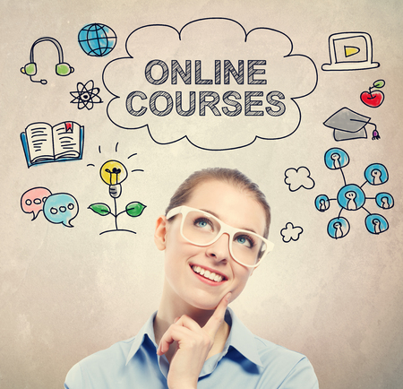 courses: Online Courses concept with young business woman wearing white eyeglasses Stock Photo