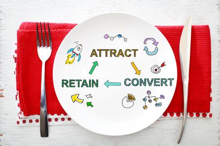Customer Acquisition concept op witte plaat met vork en mes op rode servetten Stockfoto - 47808137