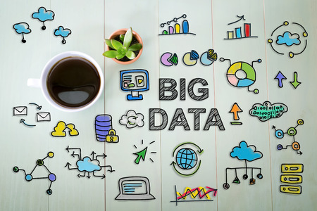 Big Data concept with a cup of coffee on a pastel green wooden table