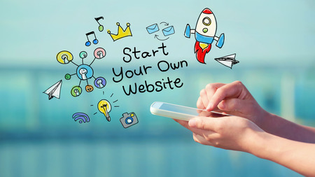 smart phone woman: Start Your Own Website concept with person holding a smartphone