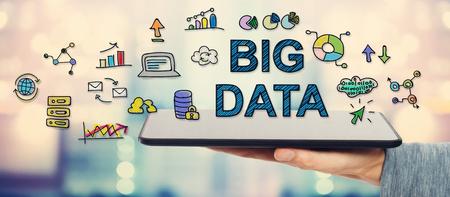 Big Data concept with man holding a tablet computer Reklamní fotografie