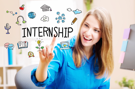 Internship concept with young woman in her home office Stock Photo