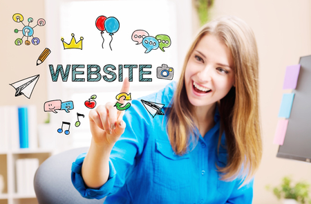 small business woman: Website concept with young woman in her home office Stock Photo