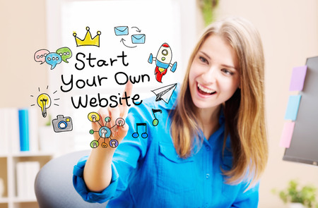 internet concept: Start Your Own Website concept with young woman in her home office