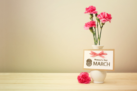 womans: Womans day March 8th card with pink carnations