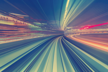 Abstract high speed technology POV motion blurred concept image from the Yuikamome monorail in Tokyo Japan Standard-Bild