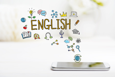English concept with smartphone on white table 版權商用圖片