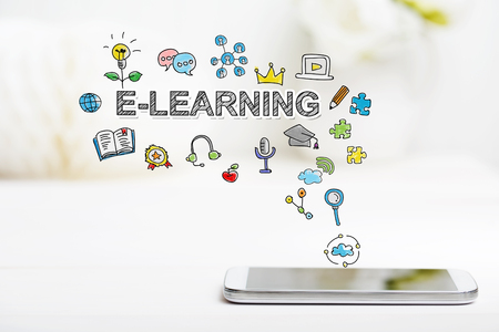 elearning: E-Learning  concept with smartphone on white table