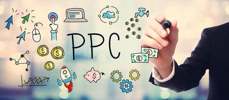 klik: Zakenman tekening PPC - Pay Per Click-concept op onscherpe achtergrond